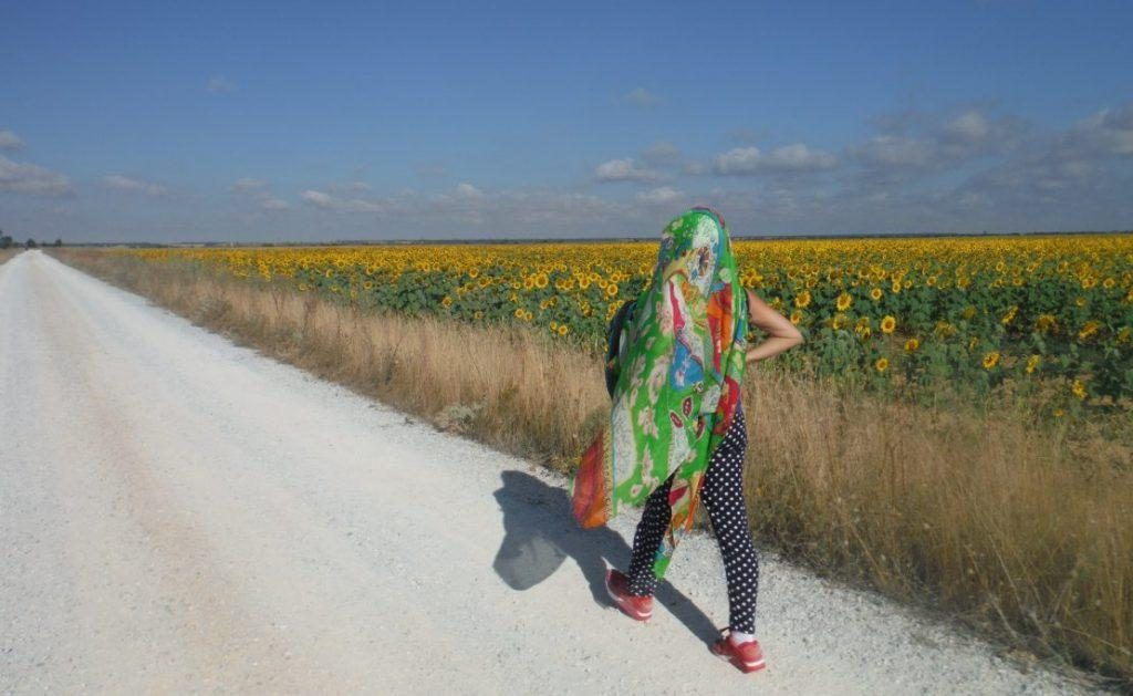 woman in long green scarf walking along sunflower field on the Camino de Santiago