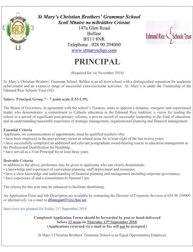 Job description for Principal
