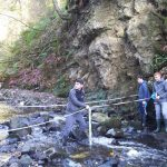 Geography pupils taking measurements at river