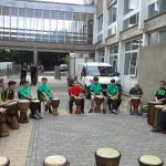 Drummers at barbeque