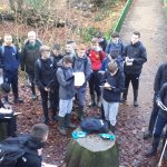 Geography students taking readings on field trip