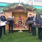 Pupils at nativity scene