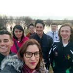 Student group selfie in the countryside