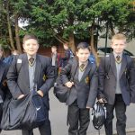Pupils arriving at school on their first day