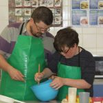 Father and son baking at the Cupcake Event