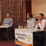 Past Pupil Gerry Carroll MLA PBP giving his answer alongside Chloe Patterson Green Party, Cllr Emmet McDonough-Brown Aliance and Robbie Butler MLA Ulster Unionist Party
