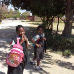 Girls arriving for school