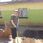 Student takes a break from digging