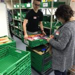 Student loading crates