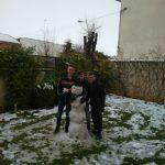Students build a snowman