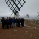Students by a windmill