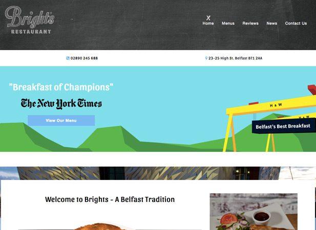 Bright's Restaurant Web Designers Belfast