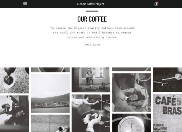 Strong brand messaging from Cinema Coffee Project | Wibble Web Design Belfast