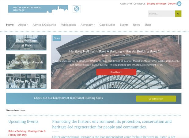 UAH front page | Web design by Wibble Belfast.