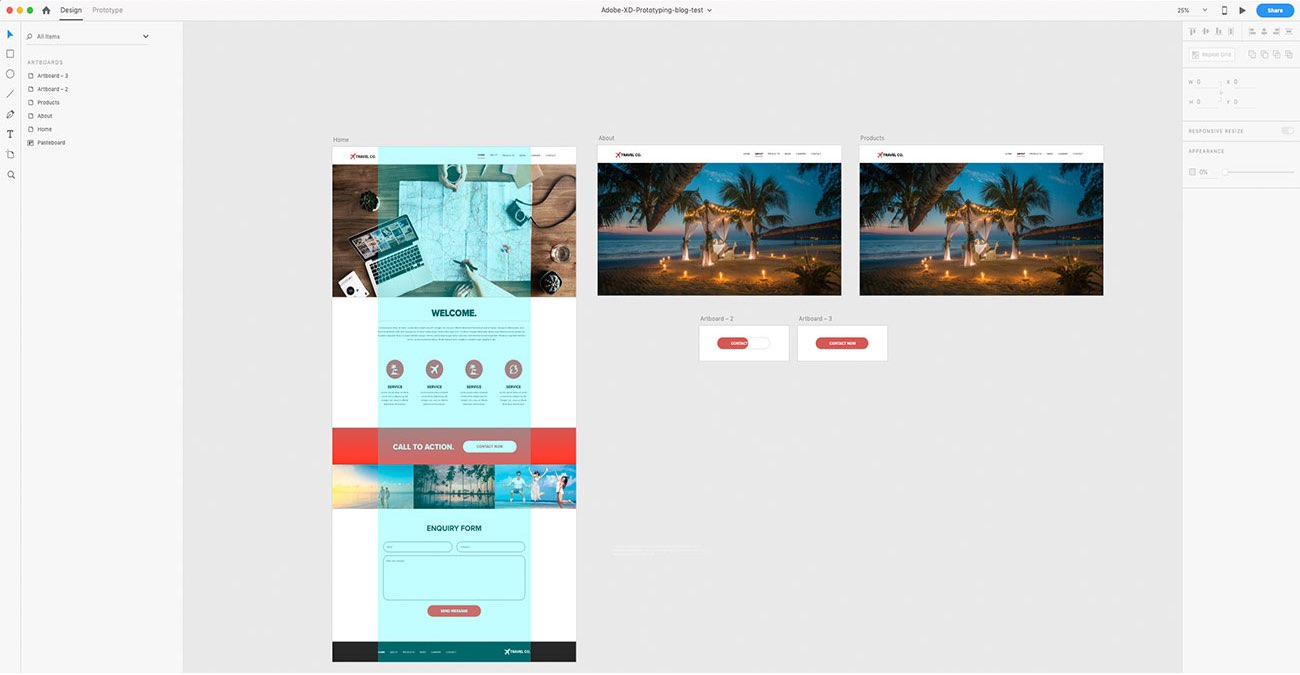 Wibble's Web Design Blog: Adobe XD: How to interact with, create and share a XD prototype