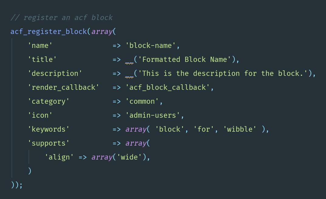 ACF Gutenberg block registration