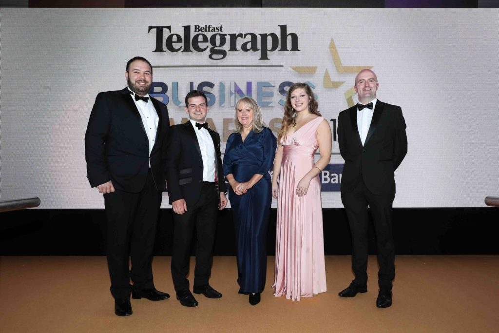Paudie Fearon from Wibble at the Belfast Telegraph awards for 2019
