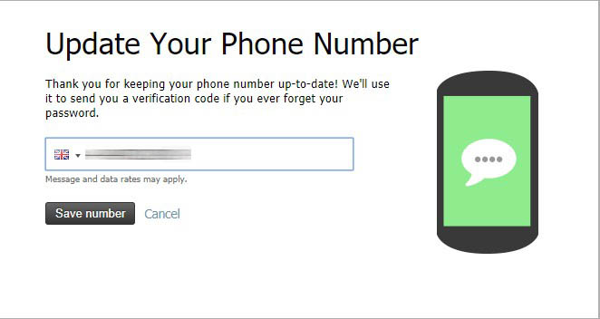 Enter phone number into the field