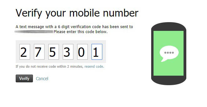 Verify number using 6 digit code