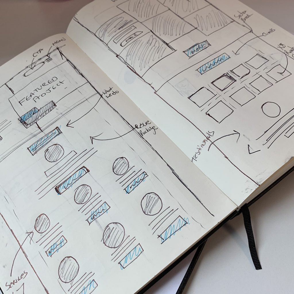 We Are Wibble Blog - Brand Refresh Part 2 - Website Redesign - Sketches Scamps & ideas