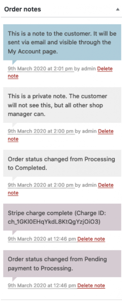 Managing Your Orders on WooCommerce order notes