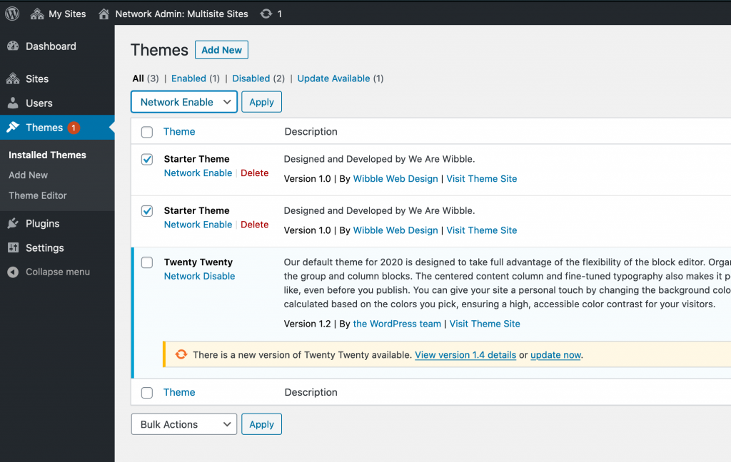 Enable multisite themes