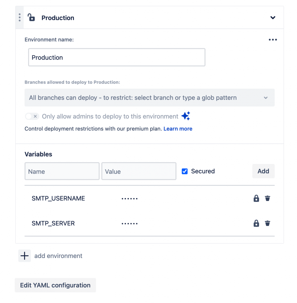 Production Variables in Bitbucket